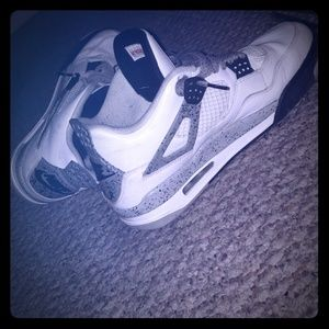 Jordan 4s white and grey and black